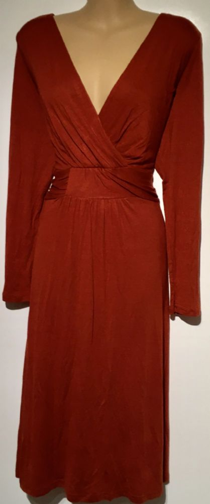 LILY & ME RUST CROSSOVER JERSEY DRESS BNWT SIZE 14